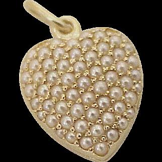 Seed Pearl Encrusted Puffy Heart Locket Charm 14K Gold circa 1950's