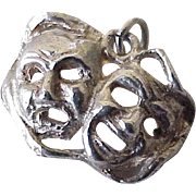 Comedy & Tragedy Mask Vintage Theatrical Charm Sterling Silver Circa 1960's