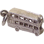 Double Decker Bus Vintage Charm Three-Dimensional Sterling Silver circa 1950's