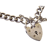 English Sterling Silver Bracelet With Heart Lock Clasp circa 1965