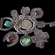 Big Colorful Jeweled Charm Bracelet, 8 Charms Silver Tone circa 1950's