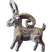 Long-Horned Goat, Alpine Ibex Vintage Charm Three-Dimensional Sterling Silver