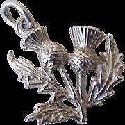 Scottish Thistle Vintage Charm Three-Dimensional Sterling Silver Circa 1950's