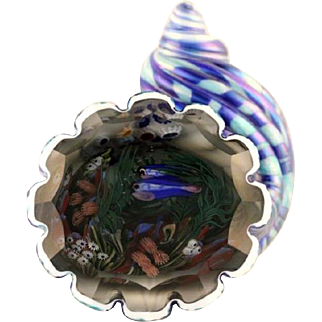 RARE Incredible MAGNUM Justin LUNDBERG Shell  INTERIOR Fish AQUARIUM Paperweight