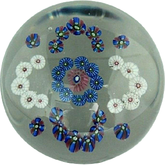 LARGE Antique BOHEMIAN Millefiori CLICHY Type C-SCROLL Garland GLASS Paperweight