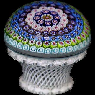 STUNNING 9/25 St. Louis MILLEFIORI Glass PIEDOUCE Latticino BASKET Paperweight