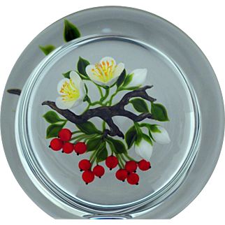 GORGEOUS Magnum TRABUCCO White BLOSSOMS & Pinch BERRIES Glass Art PAPERWEIGHT