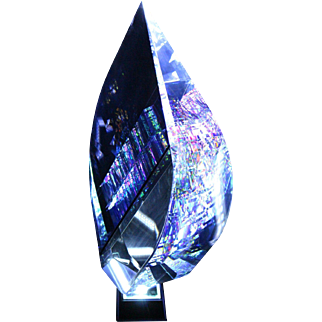 SPECTACULAR Huge JACK STORMS Dichroic CRYSTAL Glass TIER DROP Optical SCULPTURE