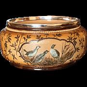 Doulton Lambeth FLORENCE BARLOW pate-sur-pate Birds, Plated Rim Bowl, 1885