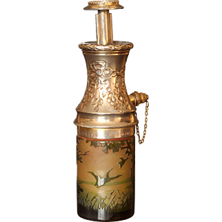French D'Argental Cameo Glass Bottle Shaped Atomizer, circa 1900's