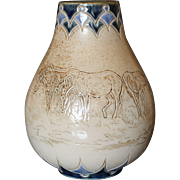"Doulton Lambeth HANNAH BARLOW Incised Ponies / Horses Small Bulbous Vase 5.5"""