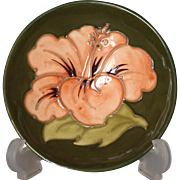 """Moorcroft Pottery Hibiscus Pattern Footed Bowl, 3.5"""""""