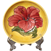 """Moorcroft Pottery Hibiscus Pattern Footed Bowl, 4.5"""""""