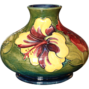 Moorcroft Pottery Hibiscus Pattern Squat Vase, Walter Moorcroft