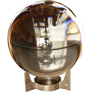 Crystal BACCARAT SIRIUS Desk Globe, Nickel Plate Stand, Fully Marked