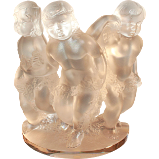 LALIQUE France Crystal 'LUXEMBOURG' 3 Long Hair Cherubs with Garland