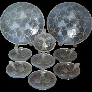 9 Piece ARRERS France Art Deco Opalescent Glass Bowl Set