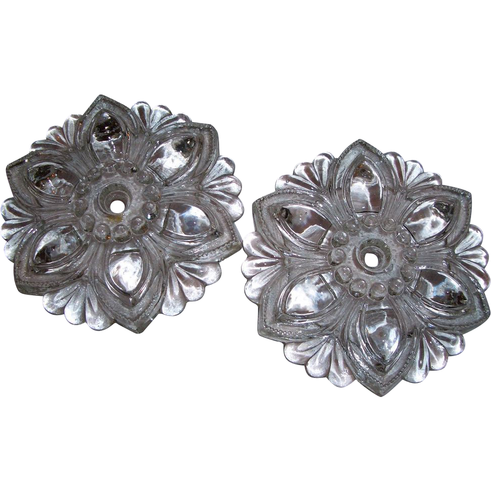 Pair Clear Pattern Glass Curtain Tie Backs Vintage Flower Shape Sold On Ruby Lane