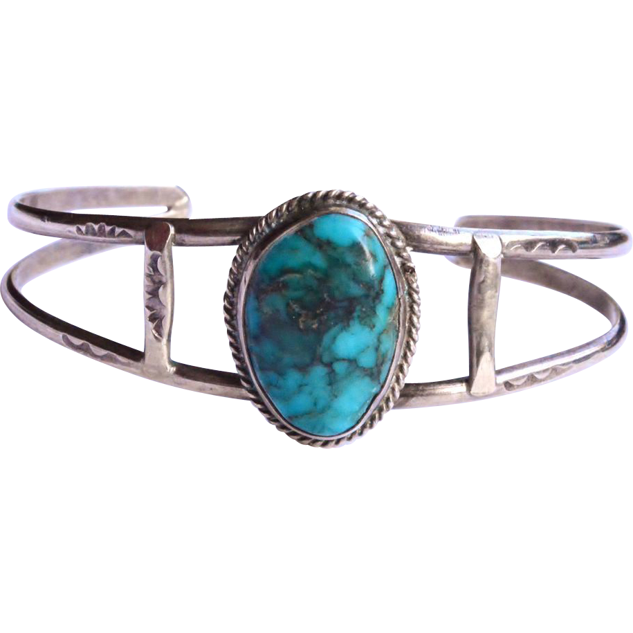 Vintage sterling silver navajo turquoise bracelet sold on for Sterling silver navajo jewelry