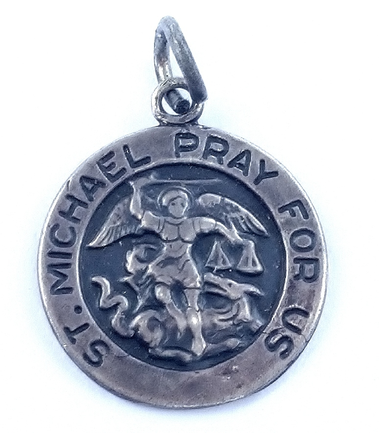 sterling silver st michael pray for us necklace pendant