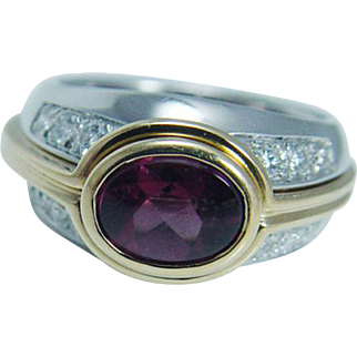 Authentic 18K Yellow and White Gold Gucci Pink Tourmaline Diamonds Ring Interchangeable with Guard