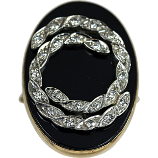 Vintage Black Onyx Ring With Diamonds 14K Gold c.1950 Retro