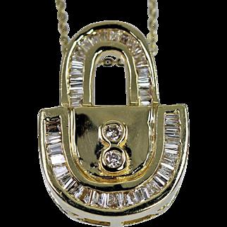 Estate Jewelry 14K Gold .70ct Diamond Baguette Padlock Pendant