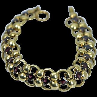 Rare Antique Tiffany Bracelet 14K Yellow Gold Garnet Hallmark