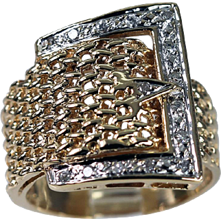 Eye- Catching Diamond 14K Gold Buckle Ring Vintage Estate Jewelry