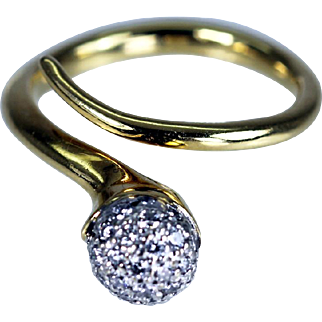 Vintage 18K Gold Diamond Snake Ring Estate