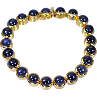"Exceptional 18K Gold 22cts Sapphire Bracelet 7.25"" long ~ Estate Jewelry"