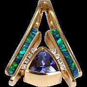 Vintage Tanzanite Black Opal Inlay Diamonds Pendant Slide 14K Gold Large Estate Jewelry