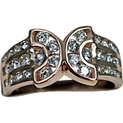 Gorgeous 14K Rose Gold Diamonds Ring Band Estate Jewelry