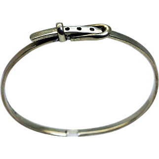 Taxco Mexico Sterling Silver 925 Hinged Bangle Buckle Bracelet Hallmarks