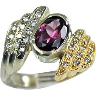 Gorgeous Diamond Rhodolite Garnet 14K Gold Asymmetrical Wings Ring Estate