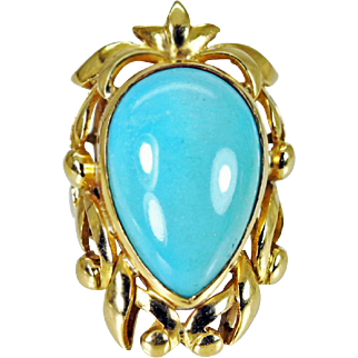 Stunning Persian Turquoise 18K Gold Ring Heavy 18.6gr Estate Jewelry