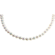 """Elegant MIKIMOTO 18K Gold Clasp 8mm Pearls 18.5"""" Necklace"""