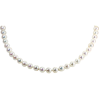 "Elegant MIKIMOTO 18K Gold Clasp 8mm Pearls 18.5"" Necklace"