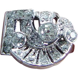 Vintage Art Deco 14K White Gold .82ct Old Miner cut Diamonds Diamond Ring