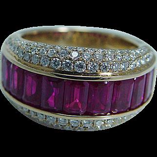Designer Sonia B Bitton 14K Yellow Gold Quality Ruby Rubies Diamonds Band Ring