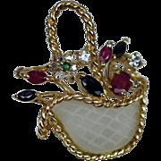 14K Gold Sapphire Ruby Diamond Emerald Camphor Glass Rock Crystal Basket Pendant or Brooch