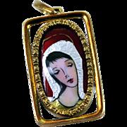 Vintage Enamel 18K Gold Pendant for Necklace Spritzer Fuhrmann