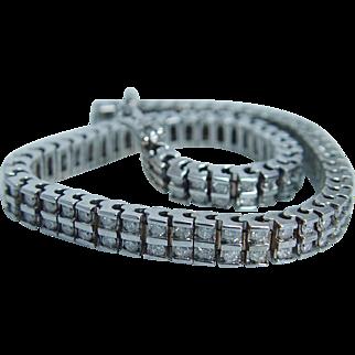 "Vintage 14K White Gold Two Rows 2.80ct Diamonds Tennis Bracelet 21.5gr 7-5/16"""