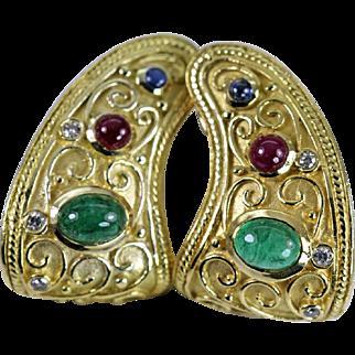 Etruscan 18K Gold Ruby Sapphire Emerald Diamond Earrings 22gr!