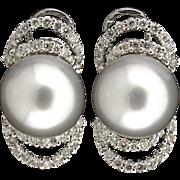 18k South Sea Pearl & Diamond Earrings
