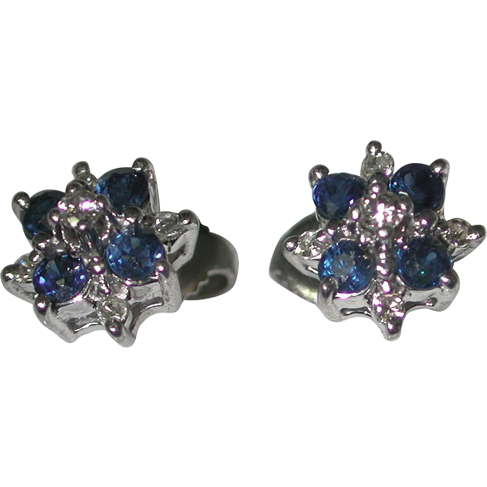 sapphire earrings with diamonds 14k white gold and sapphire earrings from 799