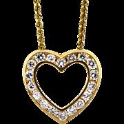 14K gold channel set Diamond Heart Necklace