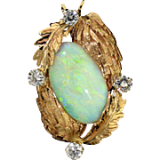 Beautiful 14K Opal and Diamond Pendant