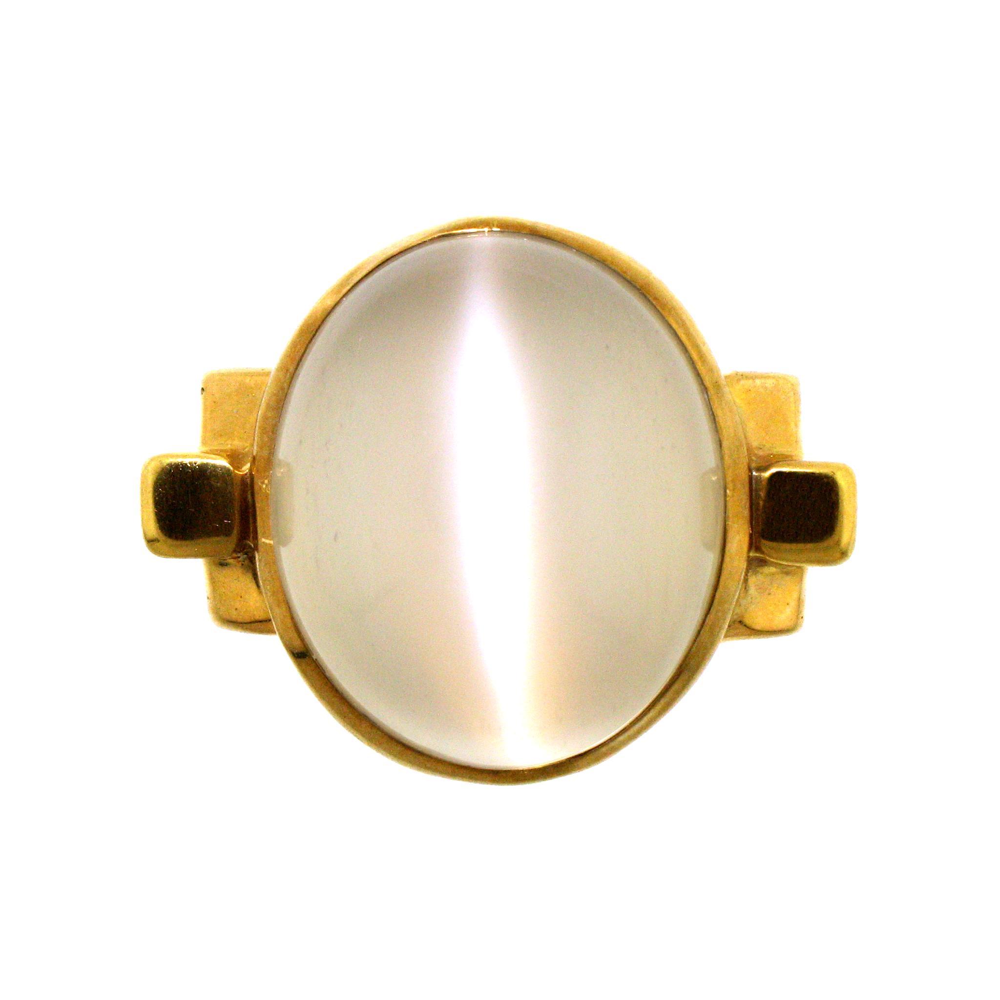 Stunning cat 39 s eye moonstone 18 karat ring from for Cat s eye moonstone jewelry