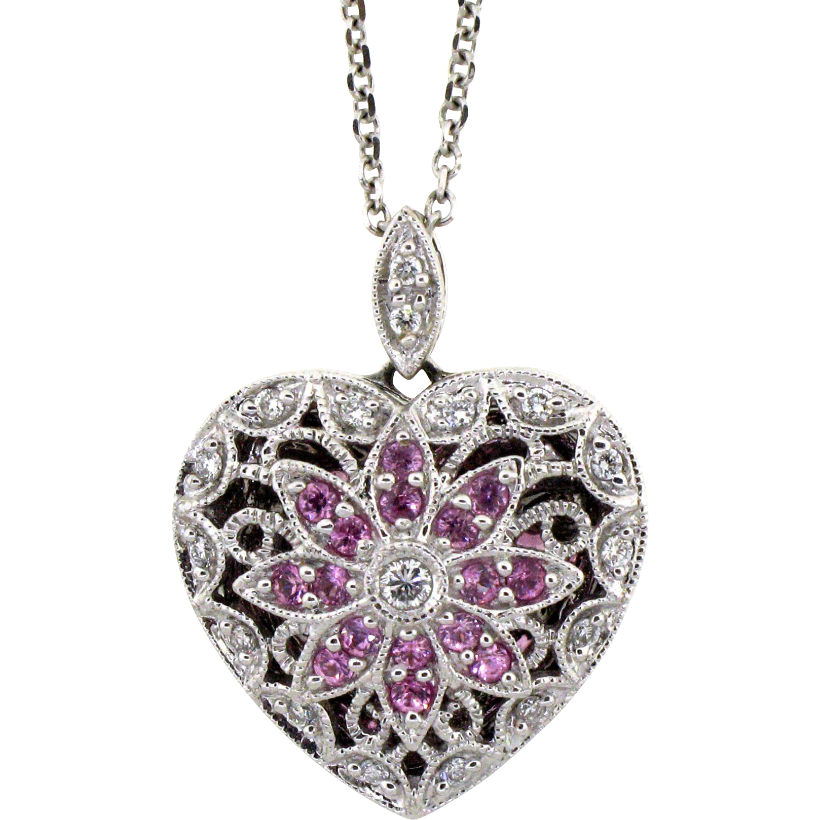 Exquisite Pink Sapphire Amp Diamond Heart Locket Amp Chain